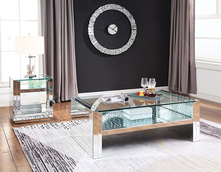Nysa Collection 81470CE 2 PC Living Room Table Set with Rectangular Shaped Coffee Table and Square Shaped End Table in Mirrored