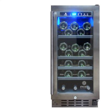 EL33WCGM Wine Cooler with 33 Bottle Capacity  Blue LED Lighting  Smudge Proof Finish  Tempered Glass Door  Digital Temperature Control  in Smoked Black