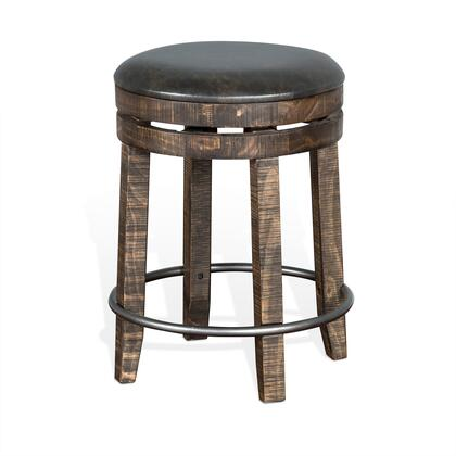 Metroflex Collection 1624TL-24 24 inch  Backless Stool with Swivel Base  Rough Sawn Details and New Zealand Pine Construction in Tobacco Leaf