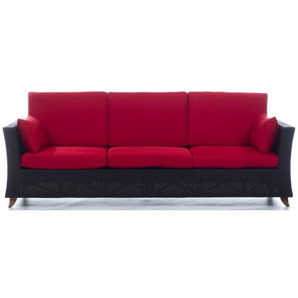 PR90-R 92 inch  Rattan Deep Seating Sofa with Solid Teak Legs  Heavy-Gauge Aluminum Frame and Water Resistant Polyester Fabric Cushion in
