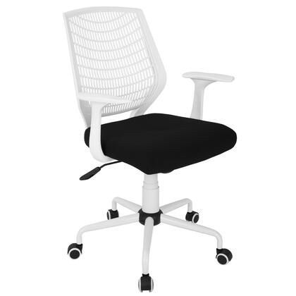 OFC-NET W+BK Network Contemporary Height Adjustable Office Chair with Swivel White and