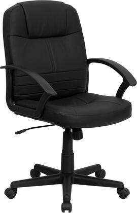 BT-8075-BK-GG Mid-Back Black Leather Executive Swivel Office