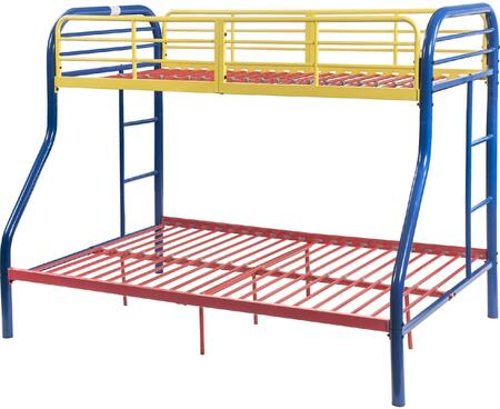 Tritan Collection 02043RNB Twin Over Full Size Bed with Built-in Side Ladders  Full Length Guardrail  Slat System Included and Metal Construction in Rainbow