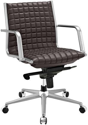 Pattern Collection EEI-2123-BRN Office Chair with 360-Degree Swivel  Adjustable Height  Tilt Control  Five Dual-Wheel Nylon Casters  Polished Steel Armrests