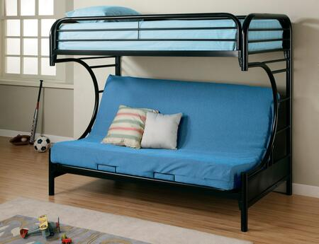2253K Fordham C Style Metal Futon Bunk Bed with Welded Braces and Straight Round Legs in High Gloss Black
