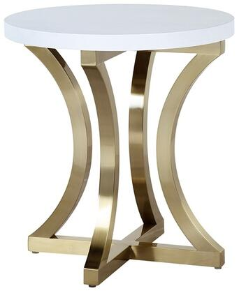 2140302CW Iris End Table with Chalk White and Ash and brushed champagne Stainless Steel
