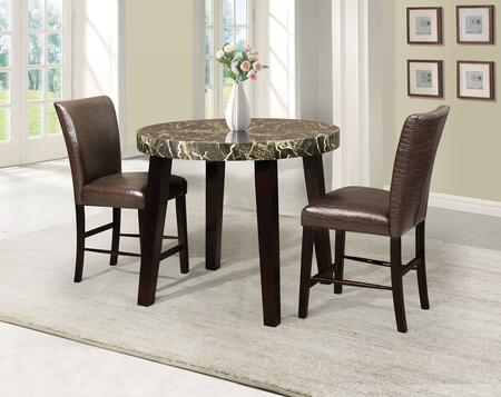 Adolph 70120T2C 3 PC Bar Table Set with Counter Height Table + 2 Chairs in Espresso