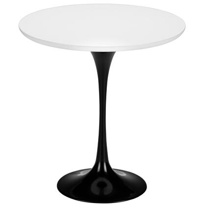 Daisy Collection Em-144-blk 20 Side Table With Walnut Finished Top  Scratch Resistant  Veneer Materials And Tapered Cast Aluminum Base In Black