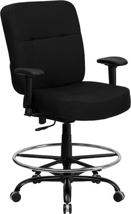 WL-735SYG-BK-AD-GG HERCULES Series 400 lb. Capacity Big & Tall Black Fabric Drafting Stool with Arms and Extra WIDE
