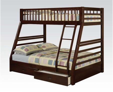 Jason Collection 02020SM Twin Over Full Size Bed with 2 Storage Drawers  Slat System Included  Front Ladder and Full Length Guardrail in Espresso