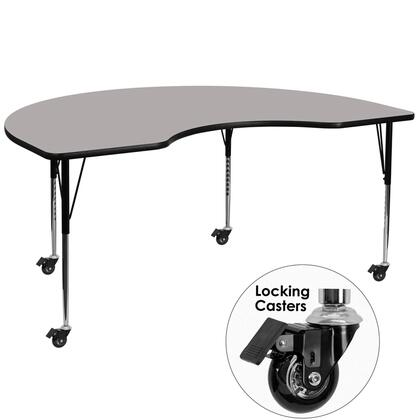 XU-A4896-KIDNY-GY-H-A-CAS-GG Mobile 48''W x 96''L Kidney Shaped Activity Table with 1.25'' Thick High Pressure Grey Laminate Top and Standard Height Adjustable
