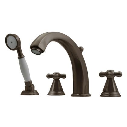 514443TFP Blairhaus Truman deck mount tub filler set with smooth lined arcing spout  hexagon-shaped cross handles  beveled escutcheons  hand held shower with