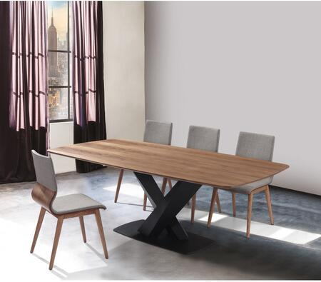 SETERDIWAGY Mid-Century Walnut Wood 5 Piece Dining Set with Table and 4x Side