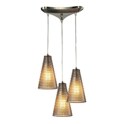 10333/3 Ribbed Glass Collection 3 Light chandelier in Satin 397784