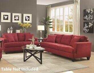 Samuel Sofa Collection 5051852pc 2-piece Living Room Set With Sofa And Love Seat In Crimson