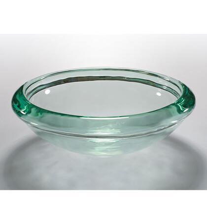 V236 Glacier Art Glass Crystal Clear 16.5 inch  Rim In Bathroom Sink With Standard 1.75 inch  Drain Opening: