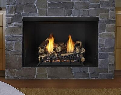 Exacta BUF42-R 42 inch  Vent Free Firebox with Clean Louverless Design  Black Interior  Large Hearth Area and Angled