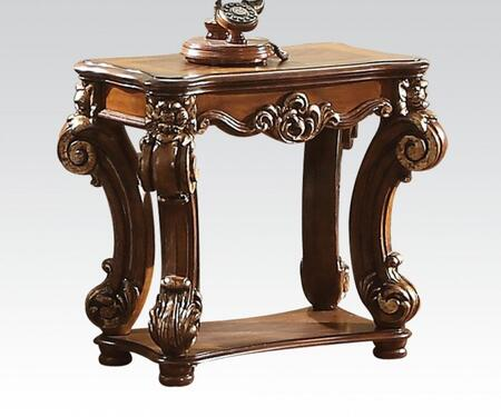 82003 Vendome Rectangular Side Table with Bottom Shelf  Solid Wood Leg and Carved Apron in