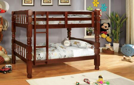 Carolina Collection CM2527CH-BED Twin Size Bunk Bed with Bold and Sturdy Design  4 PC Slats Top and Bottom  Solid Wood and Wood Veneers Construction in Cherry