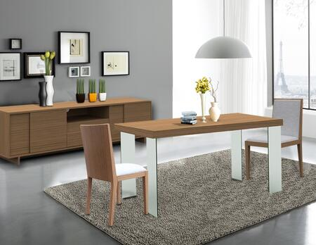 CP1107DKTCHB02 Timber 4 PC Dining Room Set with Dining Table + 2 Chairs + Buffet in Light Birch