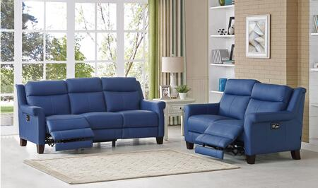 Dolce Collection Power Reclining Sofa and Loveseat with Power Headrest and Power Lumbar in Blue