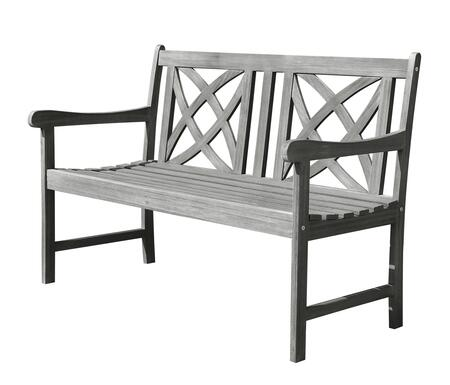 V1615 Renaissance Eco-Friendly 4-Foot Outdoor Garden Bench  Hand-Scraped