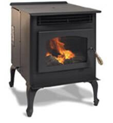 SP22PB Maverick 40 000 BTU Pellet Stove in Black with 45 lbs Hopper Capacity Heavy-Duty Steel Construction and Door in: