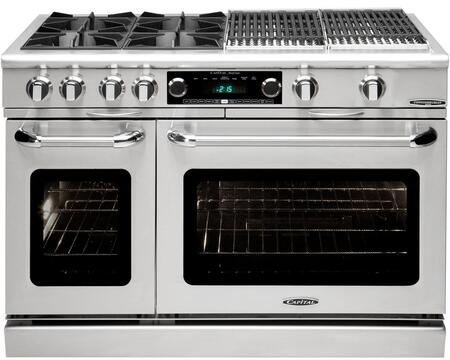 """Capital Connoisseurian Series COB484BB 48 Inch Pro-Style Dual Fuel Range with 4 Open Burners, 24"""""""" BBQ Grill, Meat Probe, Moto-Rotisâ""""¢ Rotisserie, Moist Bake Option, Dual Kitchen Timers, 5.4 cu. ft. Primary Oven and 2.4 cu. ft. Secondary Oven"""" COB484BB"""
