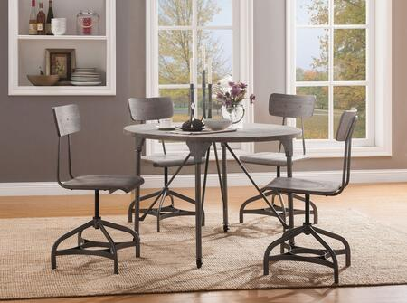 Jonquil Collection 702855SET 5 PC Dining Room Set with Round Shaped Dining Table and 4 Swivel Side Chairs in Grey Oak and Sandy Grey