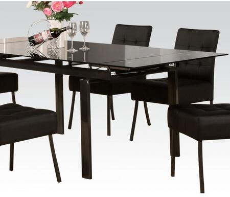 Parrish Collection 71010 59 inch  - 83 inch  Extendable Dining Table with 10mm Black Tempered Glass Top and Straight Legs in Black