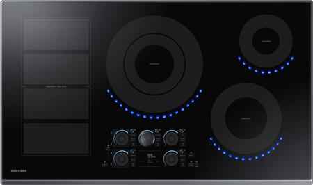 "NZ36K7880UG 36"" Induction Cooktop with Induction Flex Zone  Virtual Flame  Wifi  Magnetic Knob and Tap Touch Control  in Black Stainless"