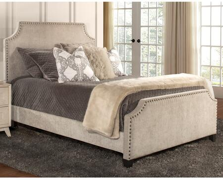 Dekland Collection 2142BKR King Size Bed with Headboard  Footboard  Rails  Fabric Upholstery  Nail Head Accents and Durable Wood Construction in Ash