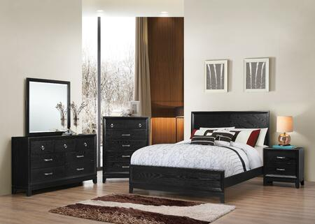 1002-5052/68SQ Metropolitan Bedroom Set Queen Bed  Dresser  Mirror  Chest and Nightstand with Apron  Molding Detail and Tapered Legs in