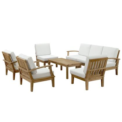 Marina Collection EEI-1479-NAT-WHI-SET 8-Piece Outdoor Patio Teak Sofa Set with Left-Arm Sofa  Coffee Table  Right-Arm Sofa  3 Middle Sofas and 2 Armchairs in