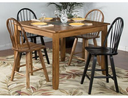 Sedona Collection 1366RODT2BC2ROC 5-Piece Dining Room Set with Dining Table  2 Black Chairs and 2 Rustic Oak Chairs in Rustic Oak