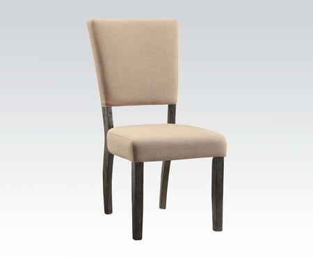 Eliana Collection 71712 Set of 2 19 inch  Side Chairs with Flared Back  Nail Head Trim  Wooden Tapered Legs  Rubberwood Construction and Line Fabric Upholstery in