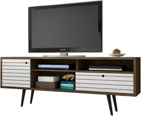 """Liberty Collection 202AMC96 71"""" Mid Century - Modern TV Stand with Solid Wood Legs  4 Shelving Spaces and 1 Drawer in Rustic Brown and"""