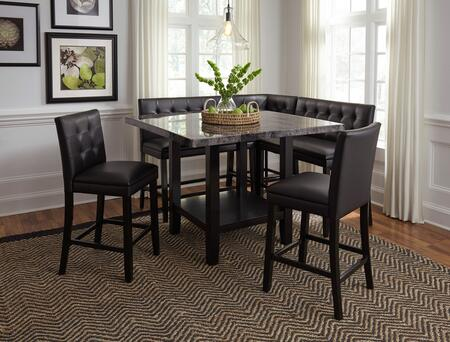 Caspian Collection 121112SC2B1CC 6-Piece Dining Room Set with Counter Height Square Dining Table  2 Counter Height Chairs  2 Counter Height Benches and 1