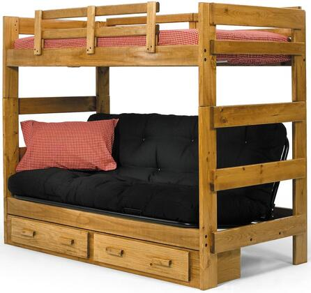 366200-S Twin Over Futon Bunk Bed with Underbed Storage in