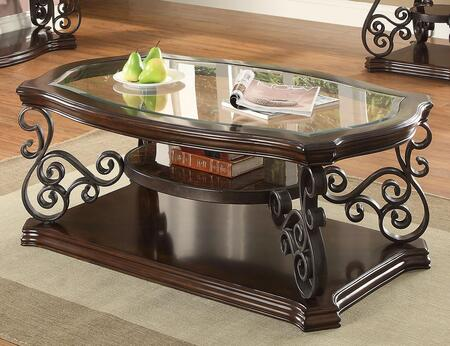702448 Occasional Group Coffee Table with Tempered Glass Top  Ornate Metal Scrollwork and Two Shelves in Mahogany