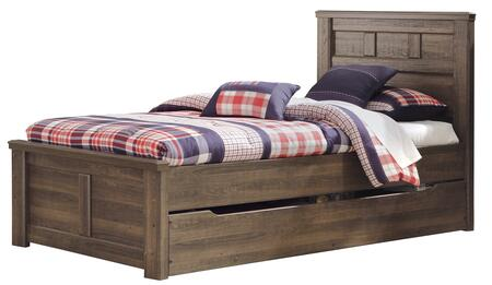 Juararo B251-52/53/83/60/B100-11 Twin Size Panel Bed with Trundle Storage and Replicated Oak Grain in Dark