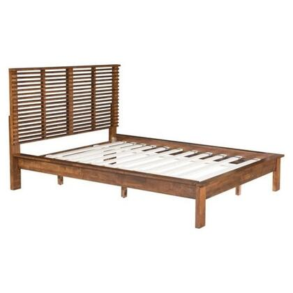 100575 Linea Collection Queen Size Bed with Wood Veneer  Slat Included  Linear Open-Air Headboard and Wooden Legs  in