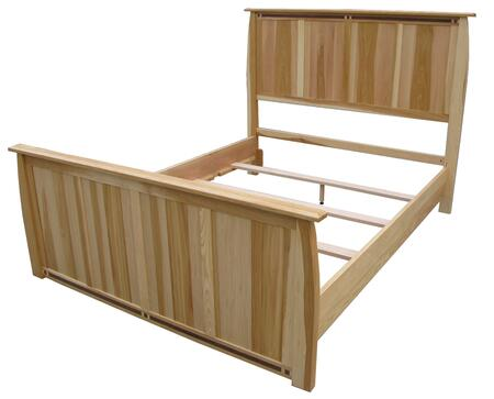 ADANT5170 Adamstown Hand Crafted Panel Bed with Steam Bent Headboard and Footboard in Natural Finish with Tough Polyurethane Sealer Coat