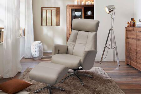RL1452GRY Addison Recliner Armchair And Ottoman  Gray Leather  Manual Relax Function With Adjustable Headrest. Metal Brushed