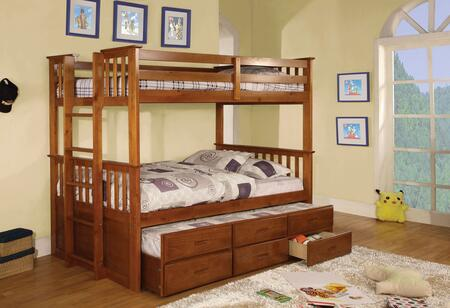 University Collection CM-BK458T-OAK-BED-TRUNDLE Twin Size Bunk Bed with 3 Drawer Trundle  Slatted Headboards  Full Length Guardrails and Wood Construction in