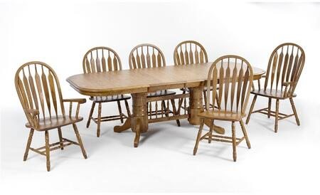 Classic Oak CO-TA-I4296247-CNT-C Dining Room  Solid Oak Trestle Table and 6 Chairs with Destressed Detailing in Chestnut