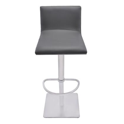 Crystal Collection LCCRBAGRBS Adjustable Swivel Barstool in Gray Faux Leather with Brushed Stainless Steel Finish and Gray Walnut Veneer