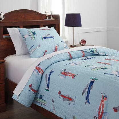 McAllen Collection Q320001T 2-Piece Twin Size Quilt Set Includes 1 Quilt and 1 Pillow Sham  Machine Washable and Polyester Material in