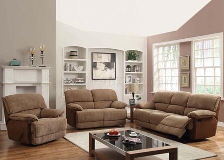 Malvern 51140SLR 3 PC Living Room Set with Sofa + Loveseat + Recliner in Light Brown