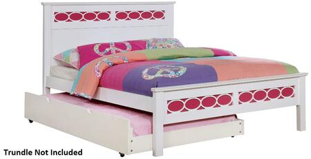 Cammi Collection CM7853PK-F-BED Full Size Bed with Decorative Circular Ring Design  Solid Wood and Wood Veneers Construction in Pink and White